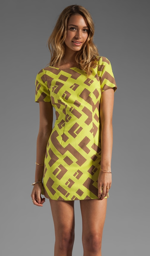 Geometric Jacquard Contrast Shift Dress