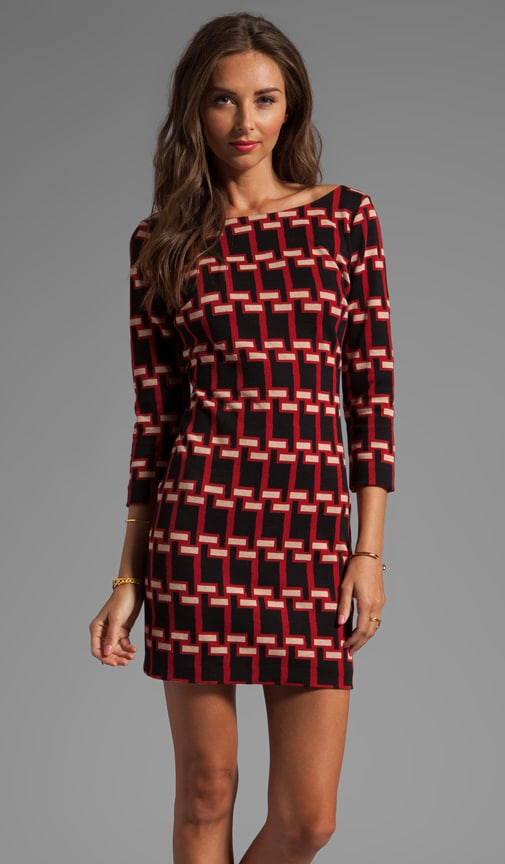 Geo Houndstooth Jacquard V-back Shift Dress