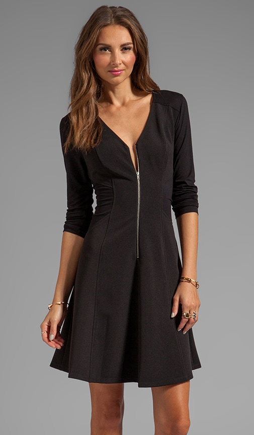 Ottoman Knit Zip Front Dress