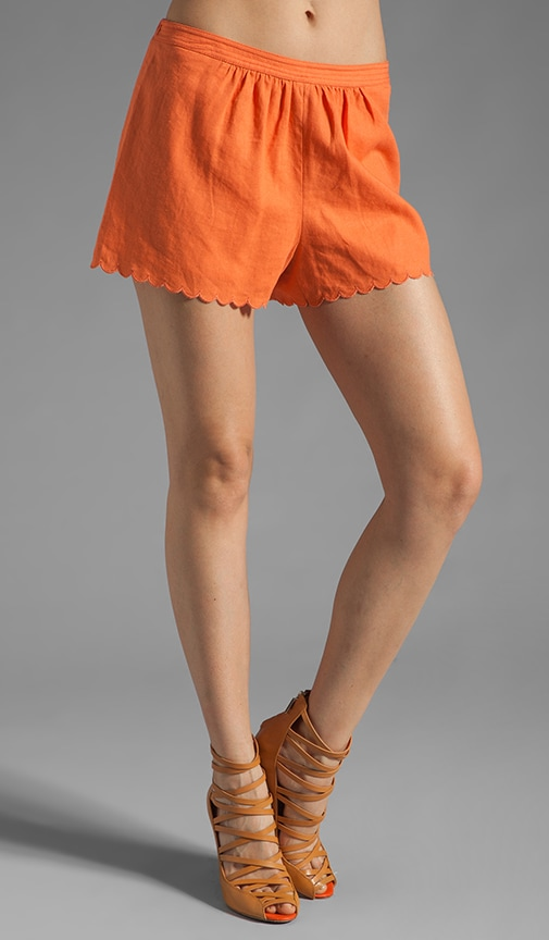 Washed Linen Blend Scalloped Shorts