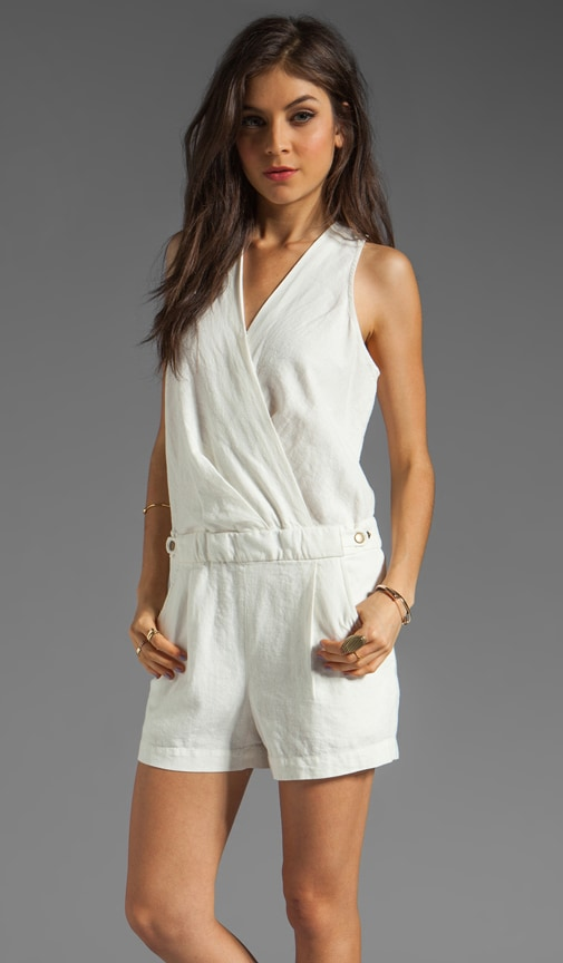 Garment Washed Linen Surplice Romper