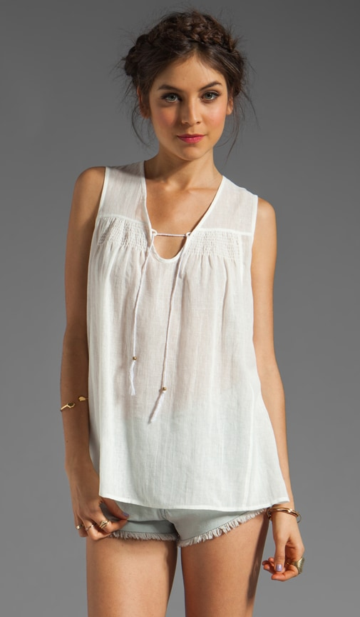 Linen/Cotton Voile Sleeveless Smocked Blouse