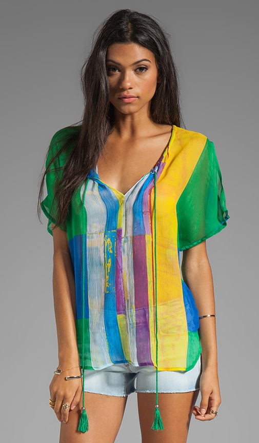 Cubist Watercolor Cocoon Peasant Top