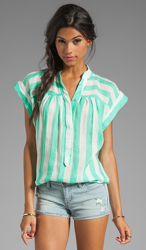 Sheer Bold Stripes Easy Peasant Top