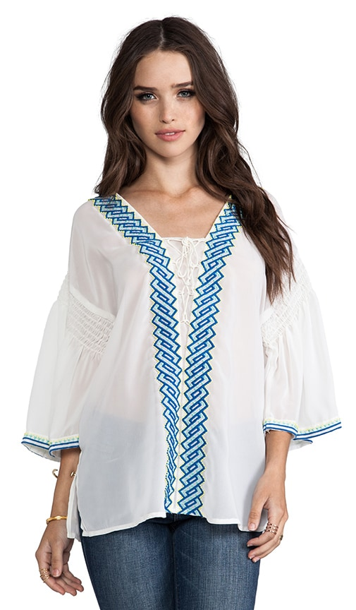 Embroidered Flutter-Sleeve Peasant Blouse