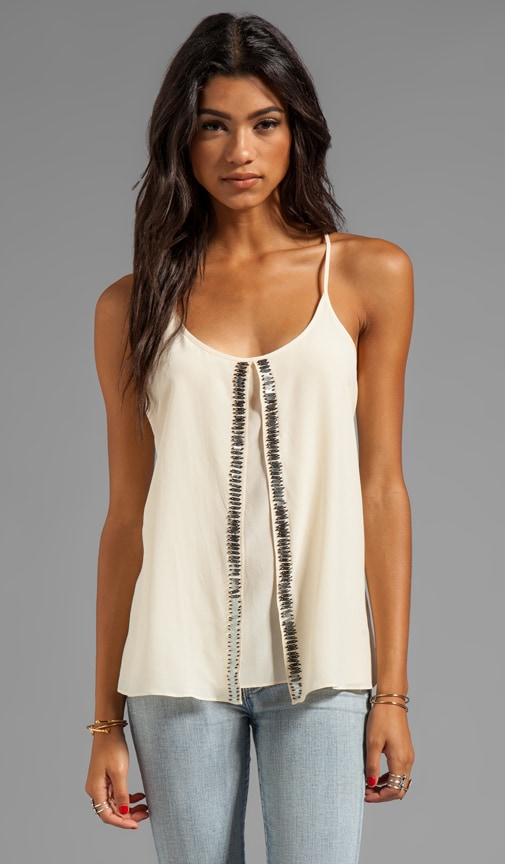 Silk Embellished Soft Solids Beaded Fly Away Tank