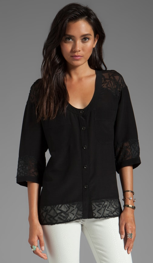 Soft Solids Diagonal Lace Combo Blouse