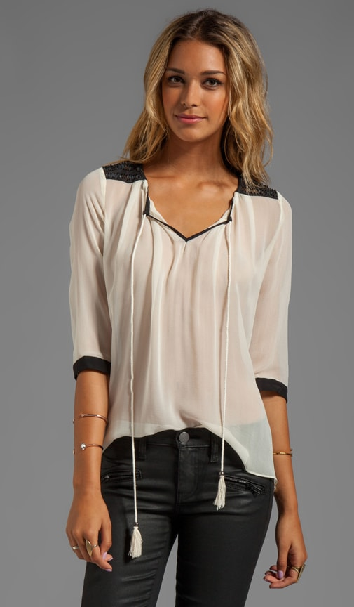 Silk Embellished Soft Solids Contrast Peasant Blouse