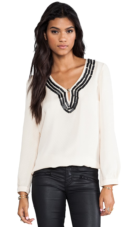 Embellished Soft Solids Peasant Blouse