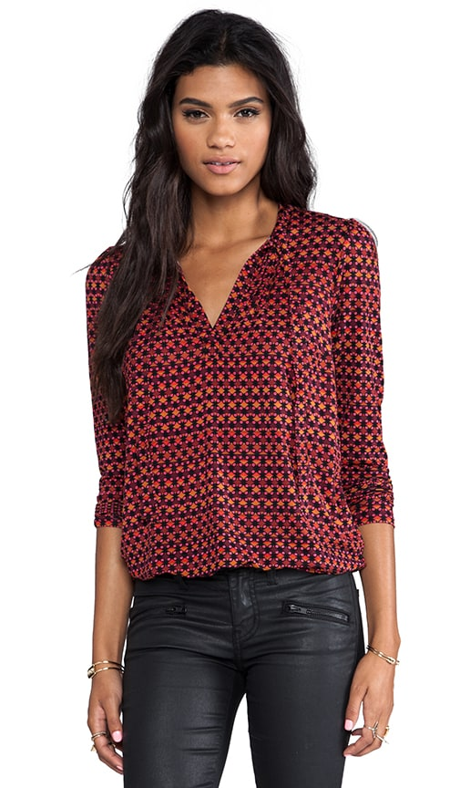 Dot Grid Printed Jersey Tie Neck Blouse
