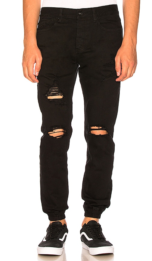 Publish Francis Joggers in Black Painted Distressed