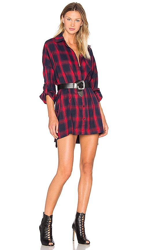 Publish Lynda Button Up Shirt Dress in Red
