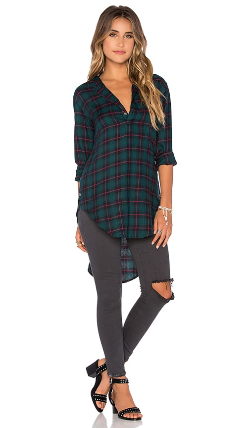 Publish Nikole Plaid Blouse in Green