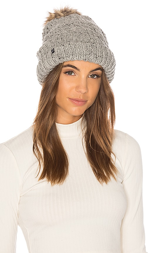 Fleece Lined Chunky Knit Beanie With Faux Fur Pom