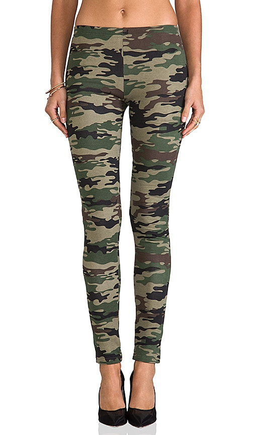Plush Camo Print Legging in Green