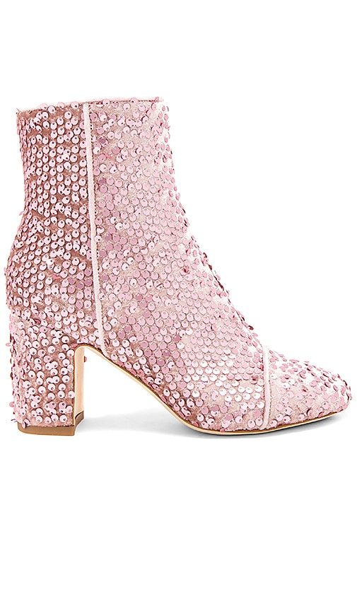 Polly Plume Ally Velvet Queen Bootie in Blush
