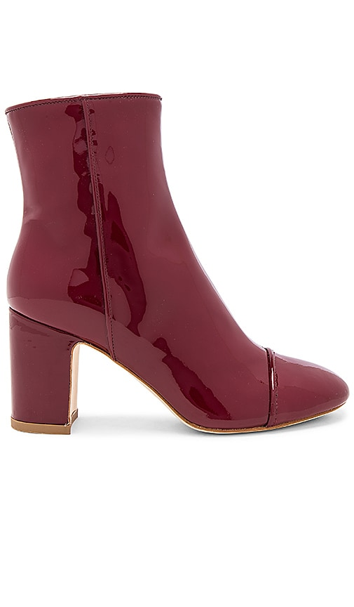 Polly Plume Lacquer Bootie in Burgundy