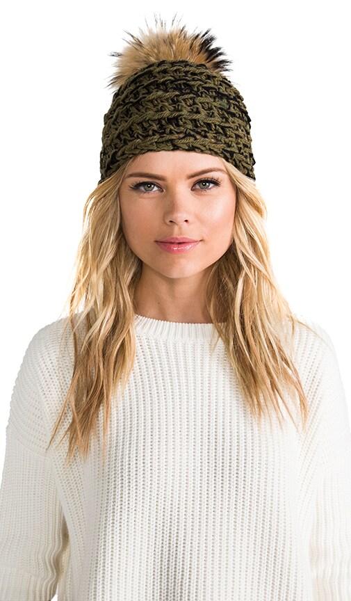 Hand Crocheted Toque Fur Pom Beanie with Fox Fur