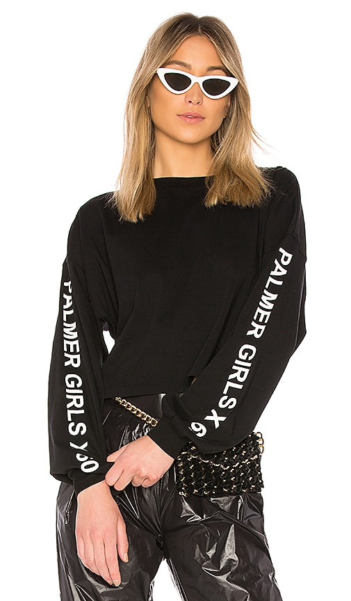 Palmer Girls x Miss Sixty Long Sleeve Crop Top in Black