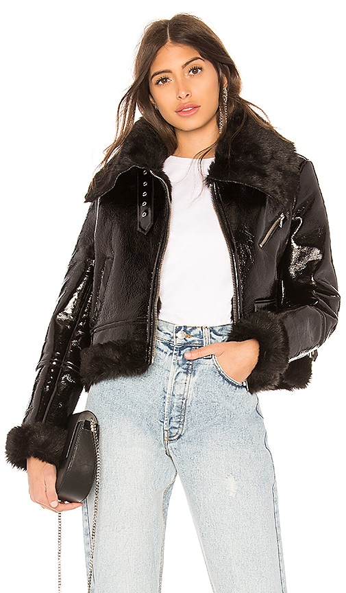 Palmer Girls x Miss Sixty Patent Leather Shearling Jacket in Black