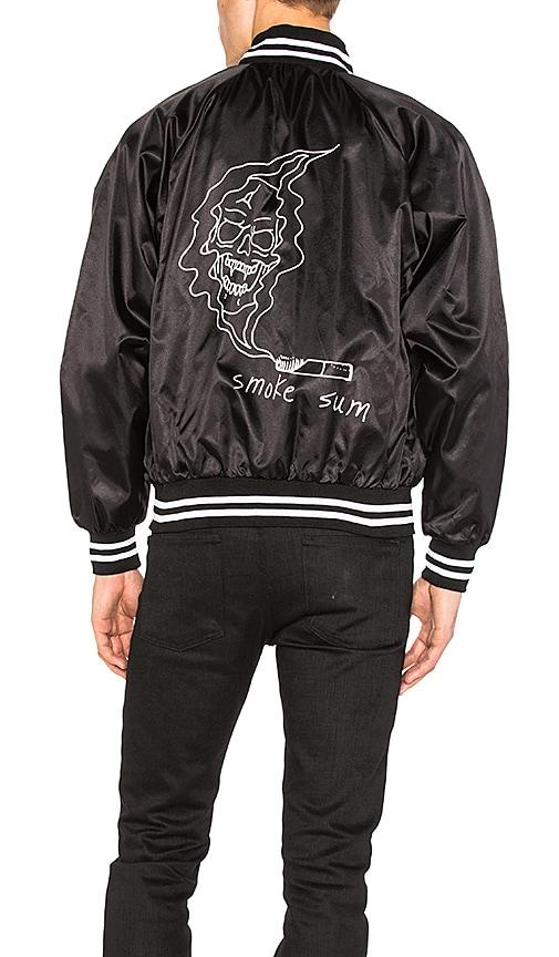 Post Malone Smoke Baseball Jacket in Black & White