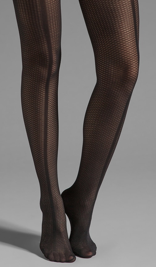 Paneled Mesh Front Seam Tights