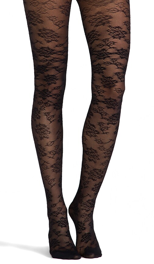 Semi Sheer Lace Tights