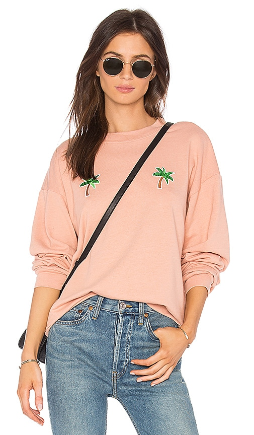 Private Party Palm Tree Crewneck Sweatshirt in Pink