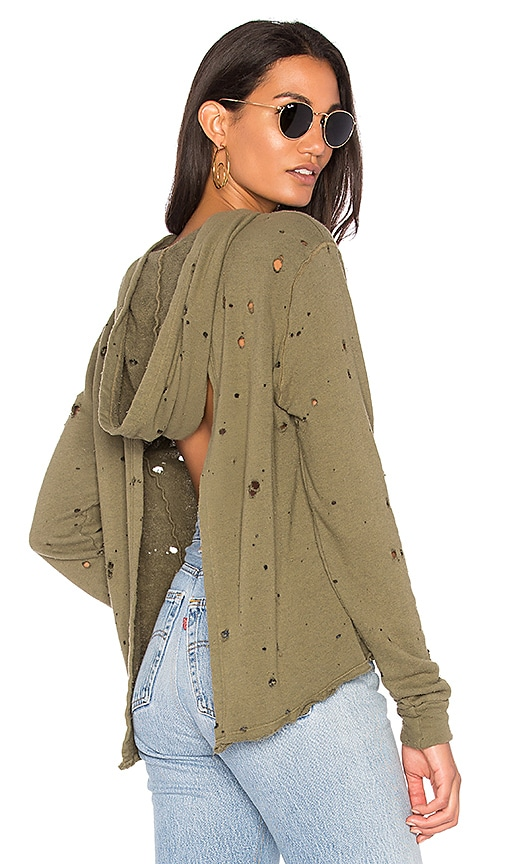 Project Social T Paige Distressed Hoodie in Olive
