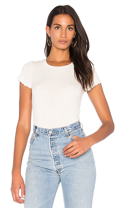 Project Social T Lainey Rib Tee in Cream
