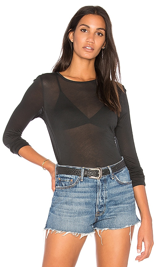 Project Social T Delphine Sheer Top in Black