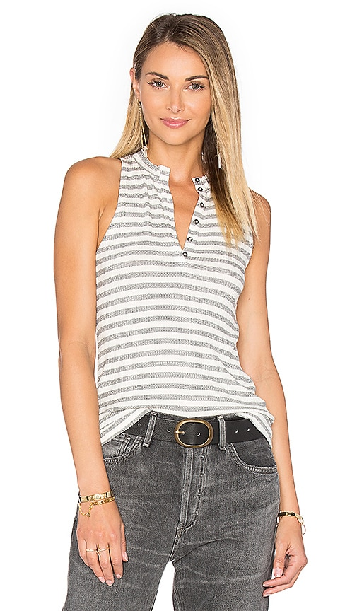 Project Social T Hank Stripe Tank in White