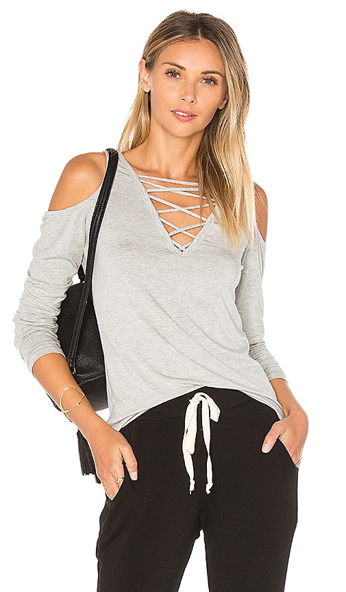 Project Social T Falling For You Lace Up Top in Gray