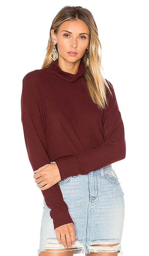 Project Social T Mia Mock Neck Top in Burgundy