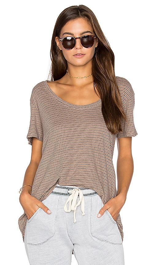 Project Social T Striped Easy Tee in Brown