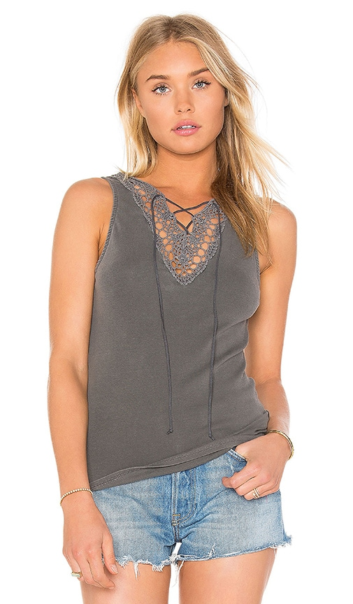 Project Social T Lace Up Lace Tank in Charcoal