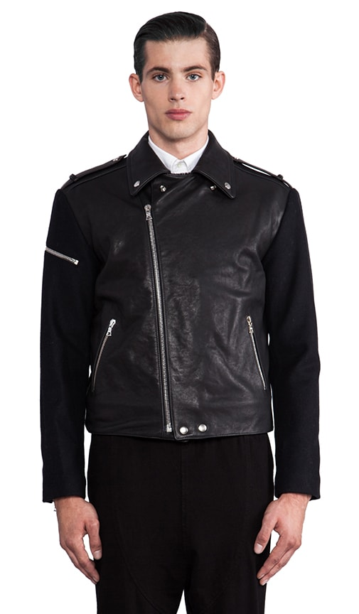 Leather/ Wool Moto Jacket