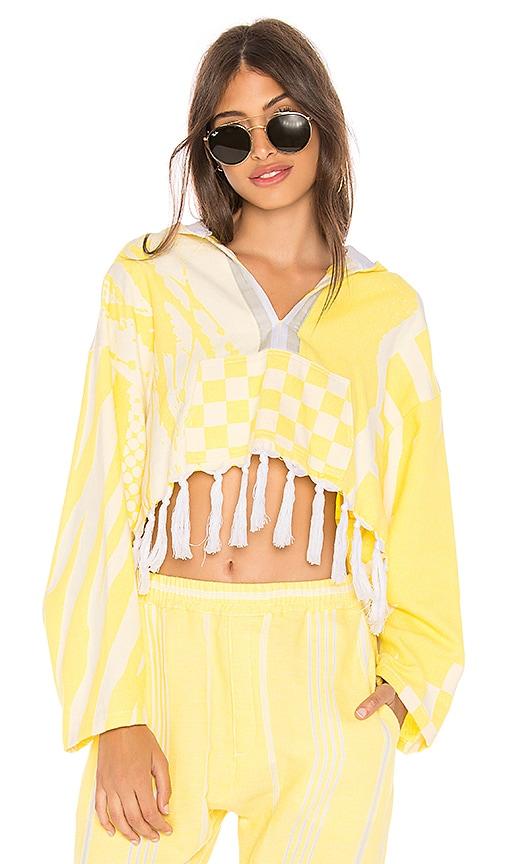 Paradised Cropped Baja Hoodie in Yellow