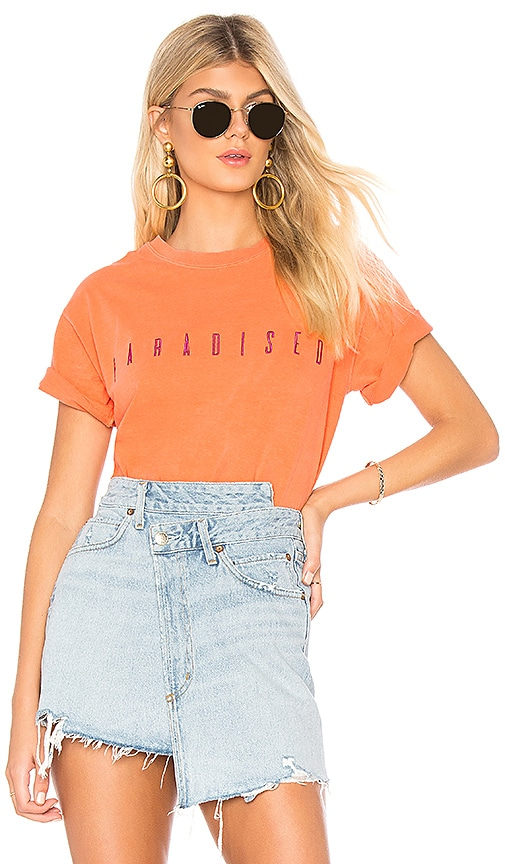 Paradised Embroidered Boxy Tee in Orange