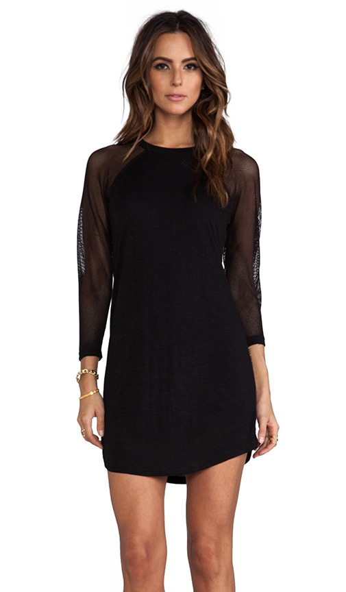 Mesh Sleeve Baseball Mini Dress