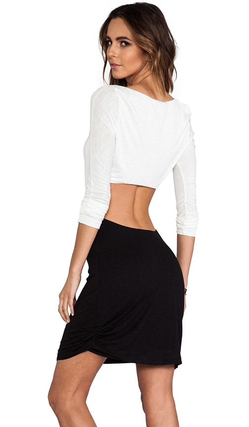 EXCLUSIVE Long Sleeve Open Back Mini Dress