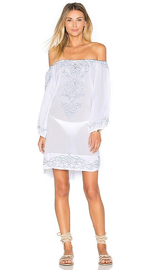 Poupette St Barth Abel Embroidered Off The shoulder Dress in White