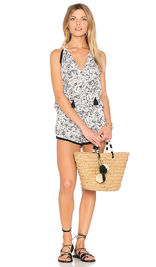 Poupette St Barth Lola Romper in Black & White