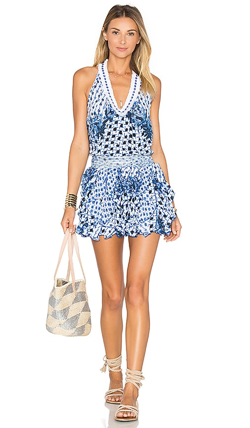 Poupette St Barth Beline V Neck Tank Dress in Blue