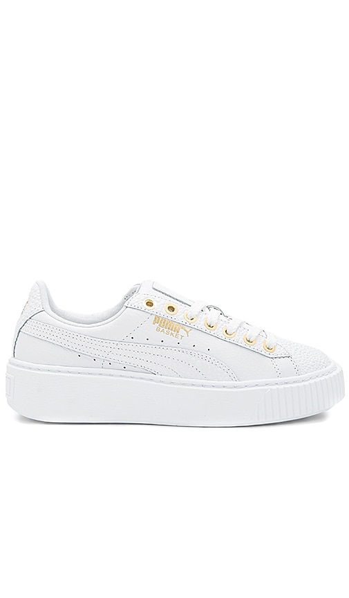 Puma Basket Pearlized Platform in in White