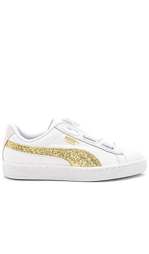 new arrival f491a 51117 Puma Basket Heart Glitter Sneaker in Puma White Gold | REVOLVE