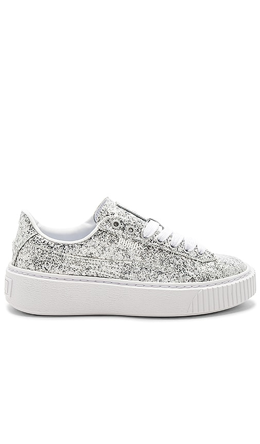 detailed look e1338 a9235 Puma Basket Platform Glitter Sneaker in Silver | REVOLVE