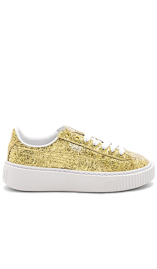 Puma Basket Platform Glitter Sneaker in Metallic Gold