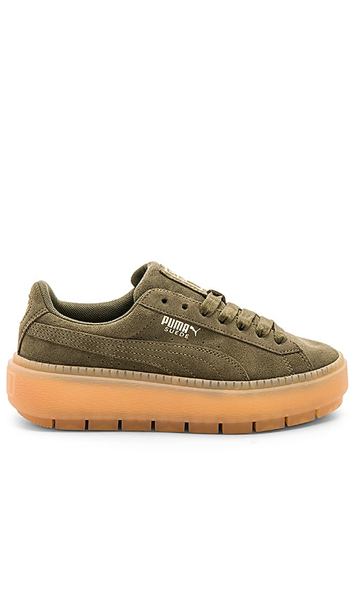 Puma Suede Platform Rugged Sneaker in Army
