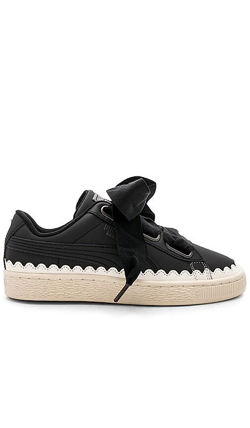 the best attitude f8a63 d92dd Puma Basket Heart Scallop Sneaker in Puma Black & Puma Black ...